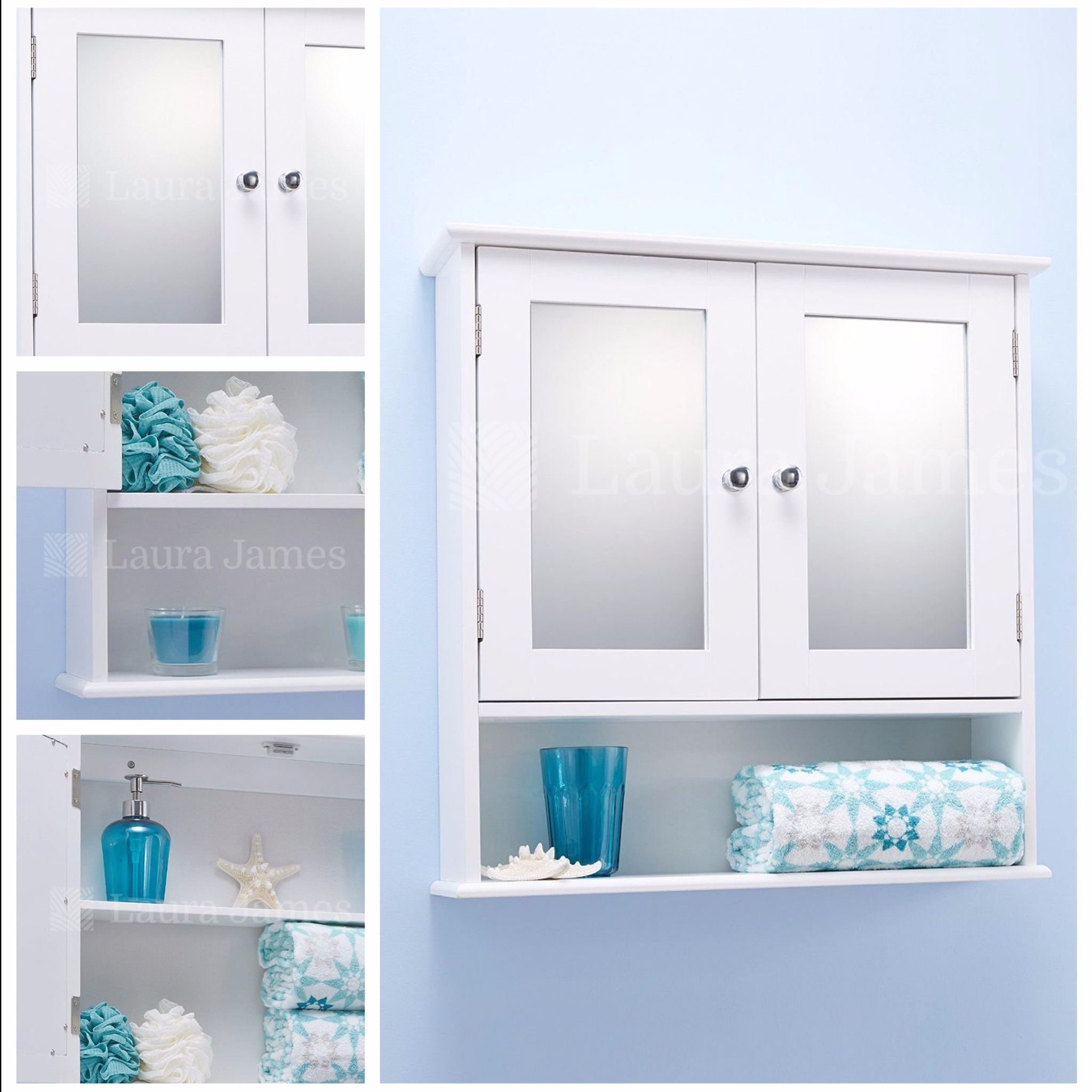 White mirror bathroom cabinet