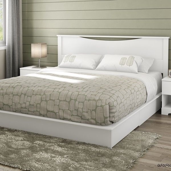 New full queen king size white wooden platform bed frame - Platform bed with storage underneath ...