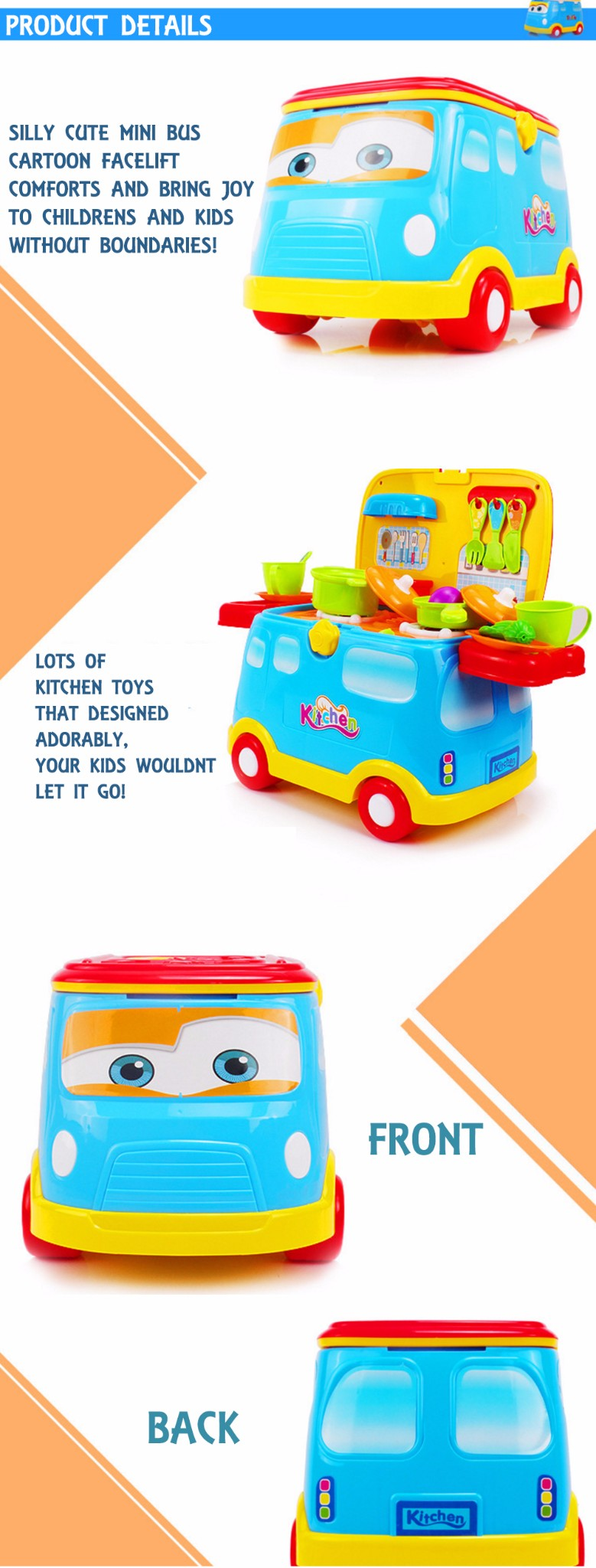 Pink New Kids Child Pretend Play Mini Bus Kitchen Cute Toy ...