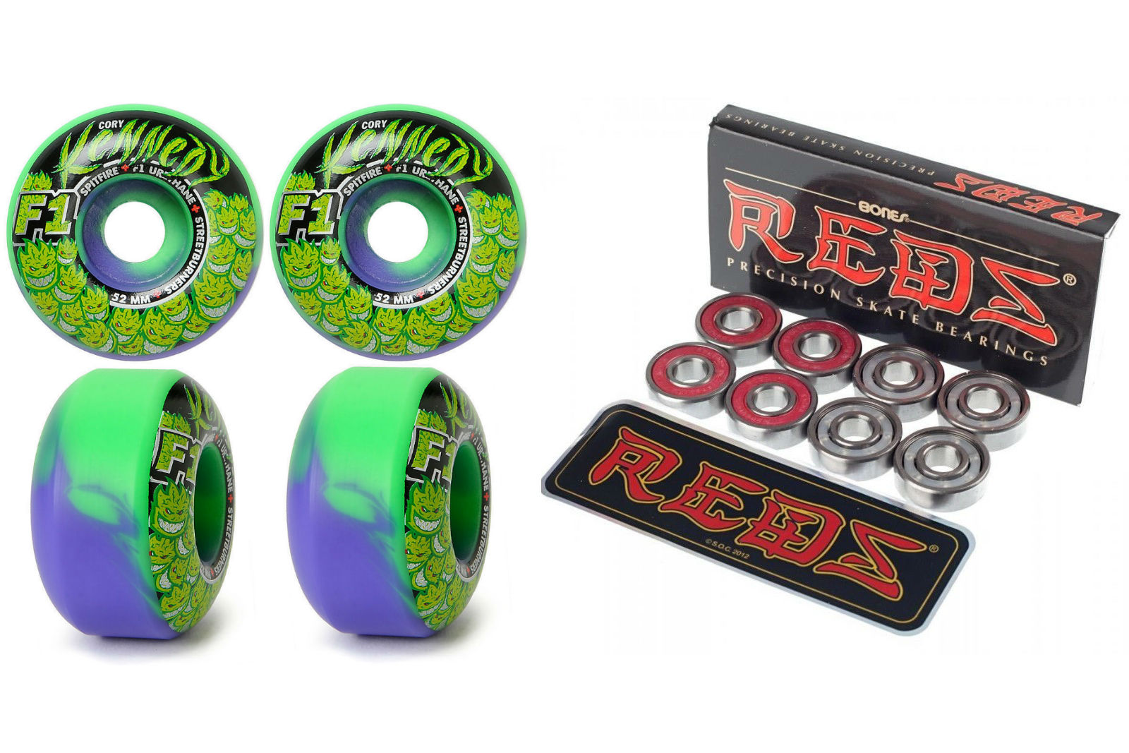 Spitfire Skateboard Wheels Kennedy Trunk Kush 52mm with bones reds bearings FREE POST