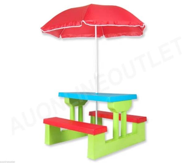 Kids picnic table outdoor multi colour set with umbrella - Children s picnic table with umbrella ...