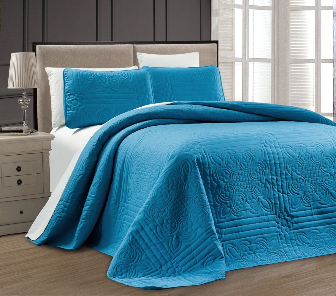new twin xl full queen cal king size bed blue 3 pc coverlet quilt bedspread set ebay. Black Bedroom Furniture Sets. Home Design Ideas
