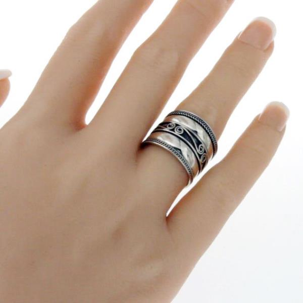 925 Sterling Silver Bali 16 Mm Wide Cigar Band Ring Size 6