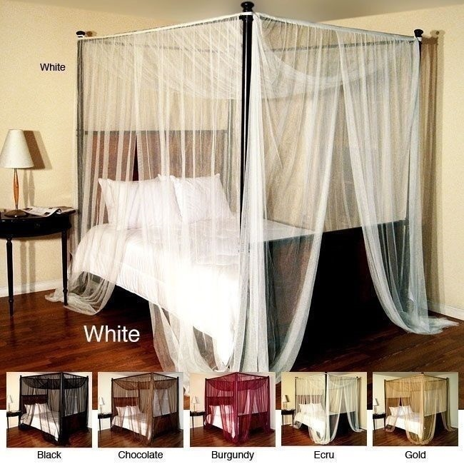 Curtains Ideas black canopy curtains : NEW Burgundy Four 4 Post Bed Canopy Netting Curtains Sheer Panels ...