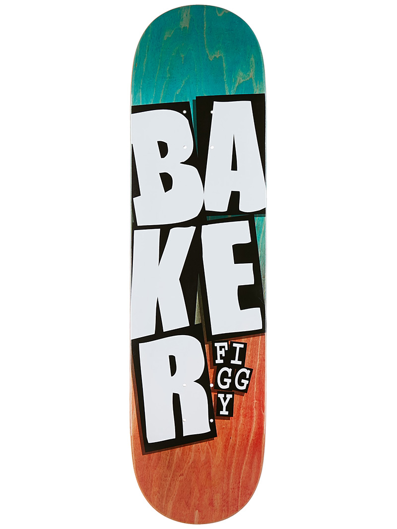 Baker Skateboards Deck Figgy 8.25 Stacked Name Teal Red FREE GRIP and Post new