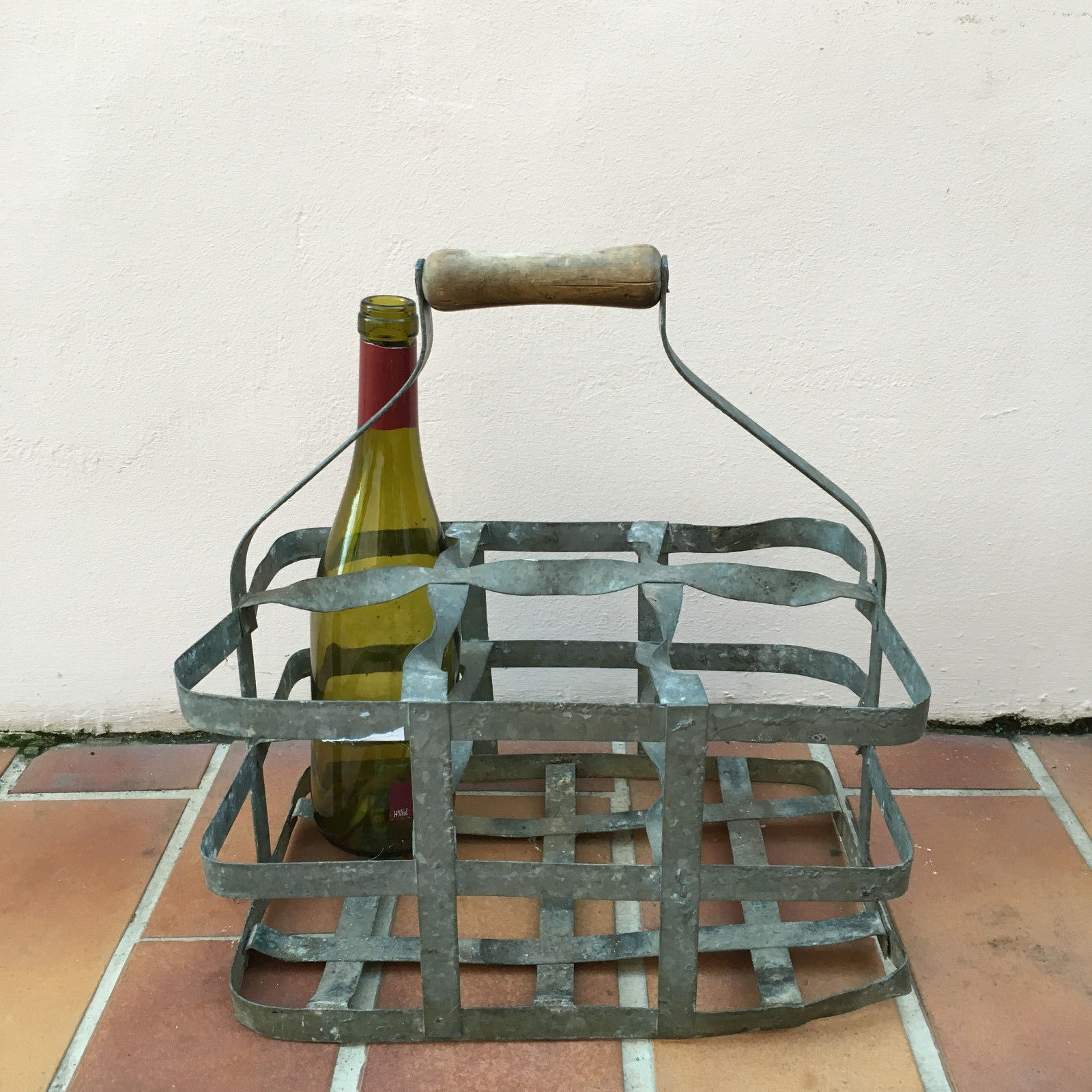 Antique vintage french handmade metal 6 zinc bottle wine carrier basket 12 ebay - Wire wine bottle carrier ...