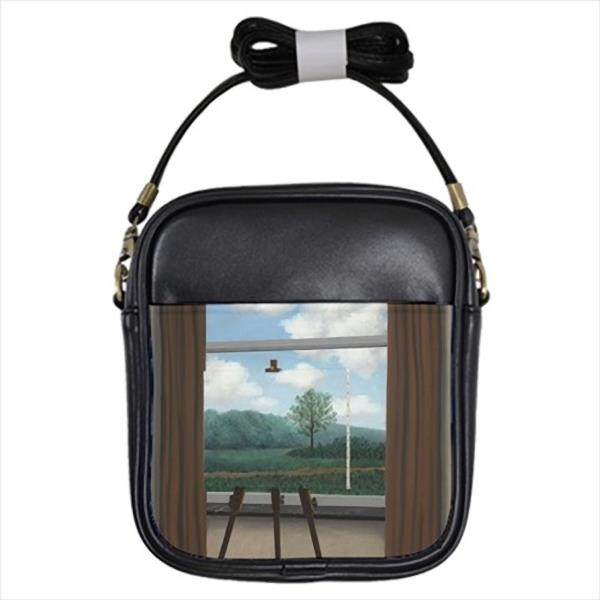 The Human Condition Rene Magritte Leather Sling Bag & Women& ...