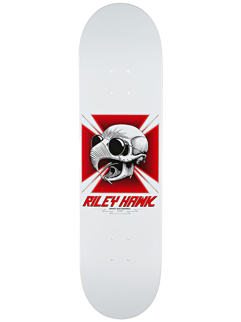 Baker Skateboard Deck Riley Hawk Tribute 8.25 White FREE GRIP and Post new