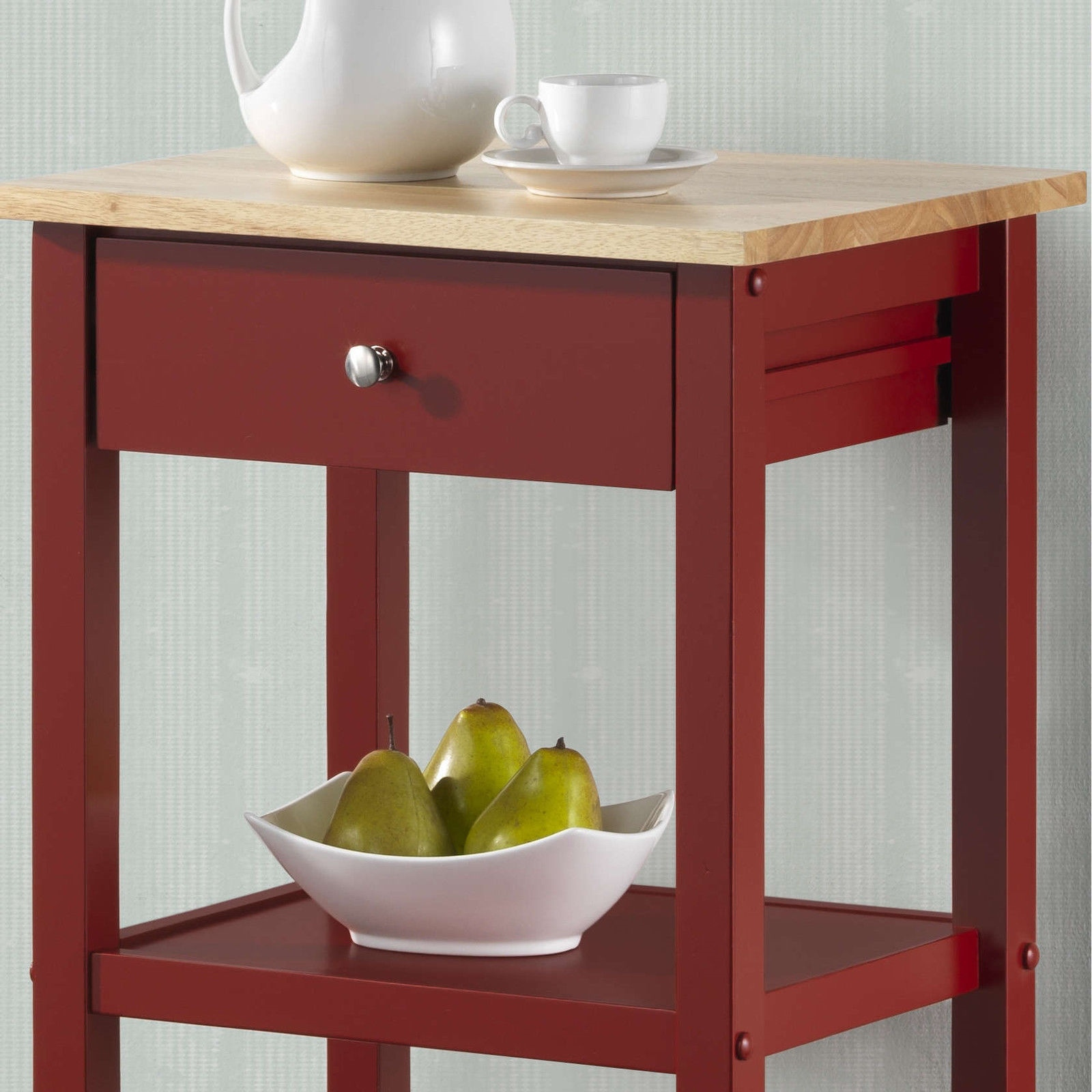 White Kitchen Shelf: NEW Red Black White Wooden Rolling Kitchen Cart Island
