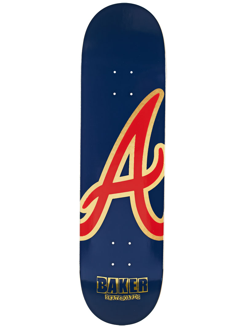 Baker Skateboard Deck Reynolds 8.38 ATL Navy Red Gold FREE GRIP and Post new