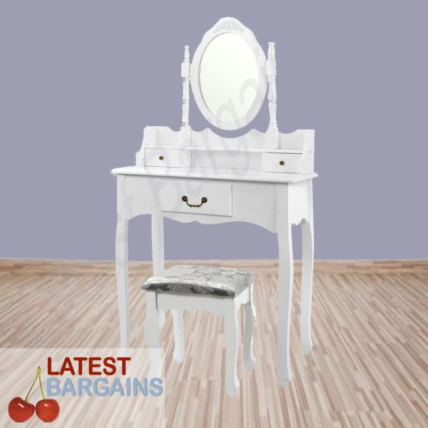 New 3 Drawers White Wooden Vanity Dressing Table Stool