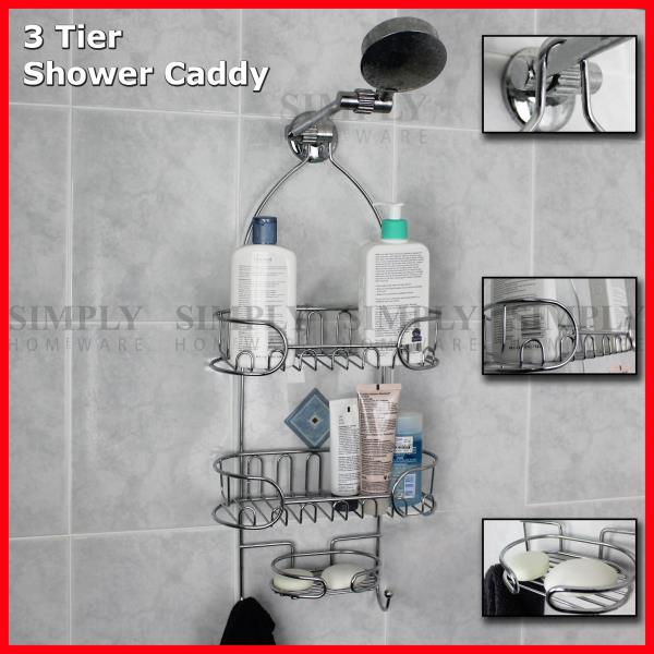 Shower caddy chrome organiser bath shelf shelves storage for Bathroom tray for toiletries
