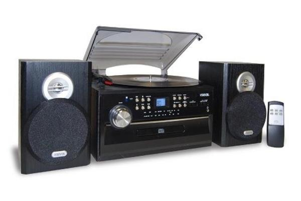 jensen home shelf stereo record player system with. Black Bedroom Furniture Sets. Home Design Ideas