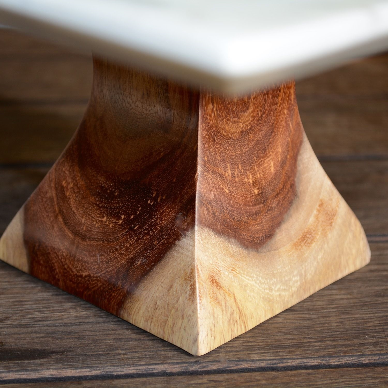 Marble Cake Stand Square Wooden Base Display Wedding Gift Decor Candle Holder