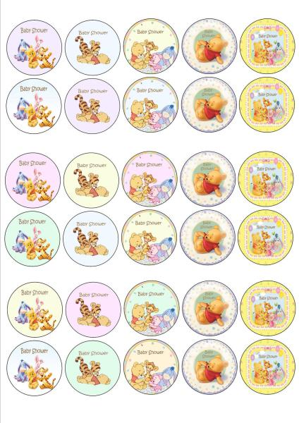 30 X BABY SHOWER WINNIE POOH BEAR EDIBLE CUPCAKE TOPPERS PREMIUM RICE PAPER  242 .