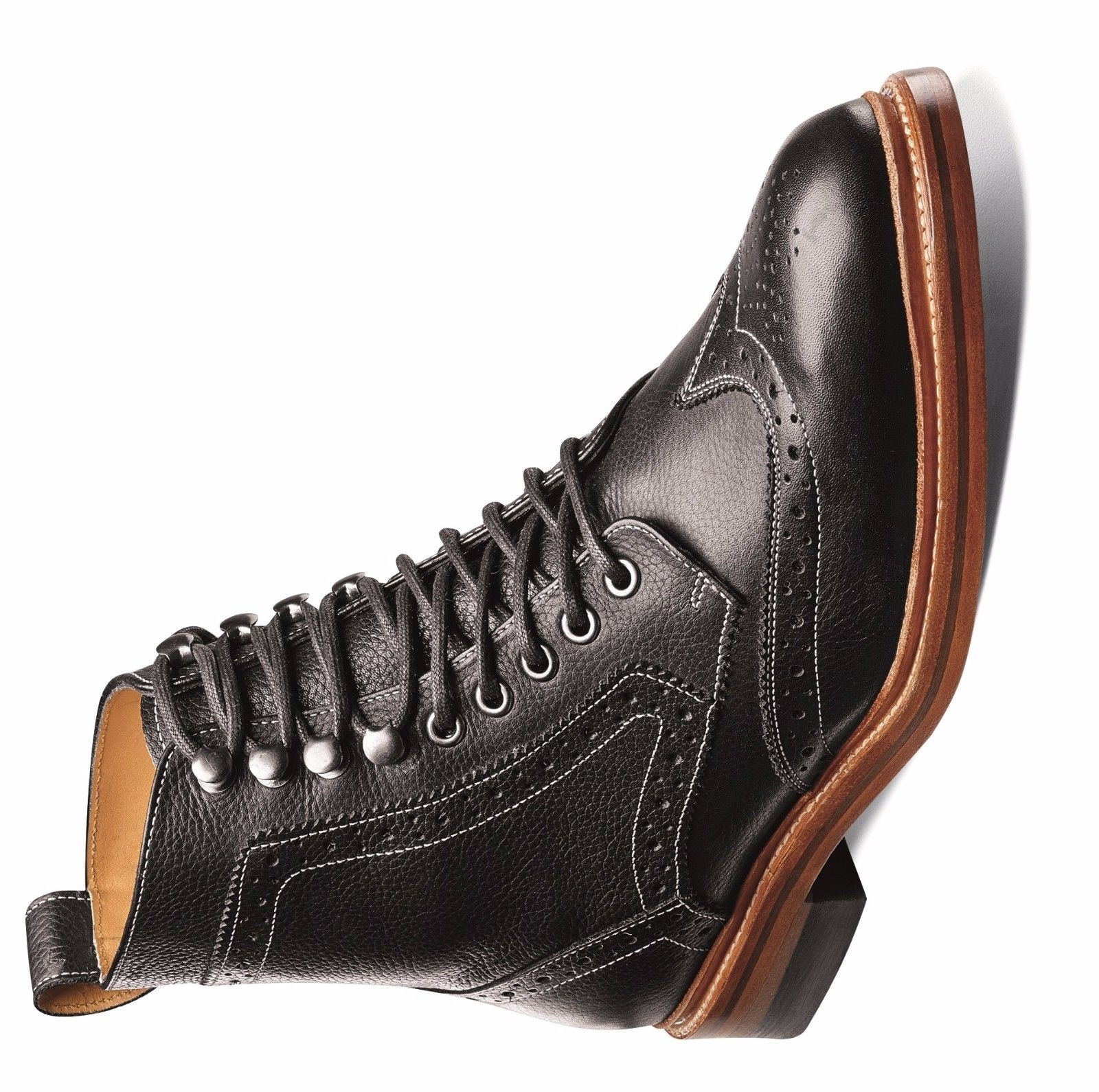 da6f50d1012 Stacy Adams Mens Black Leather Madison Lace up Ankle Wing Tip Trendy Medium  Boot