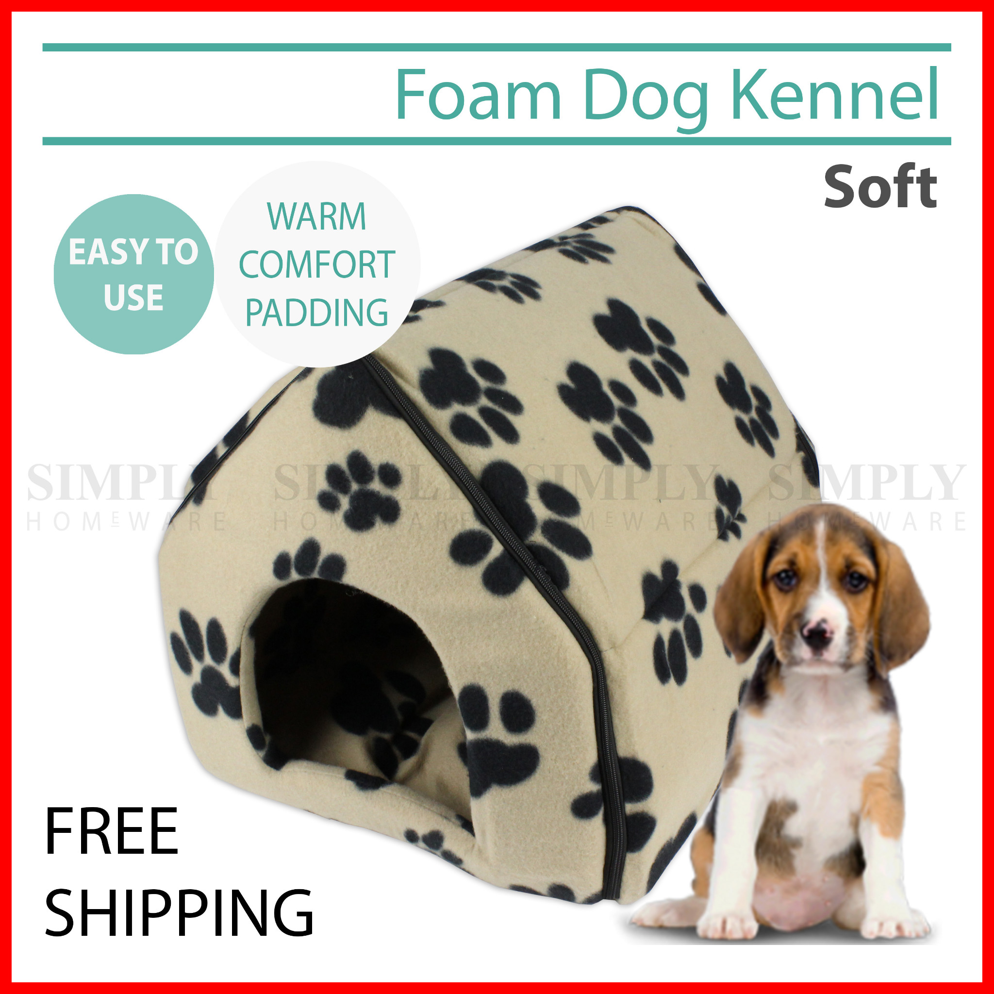 Pet Dog House Kennel Soft Igloo Cat Zip Folding Bed Warm Cushion Portable
