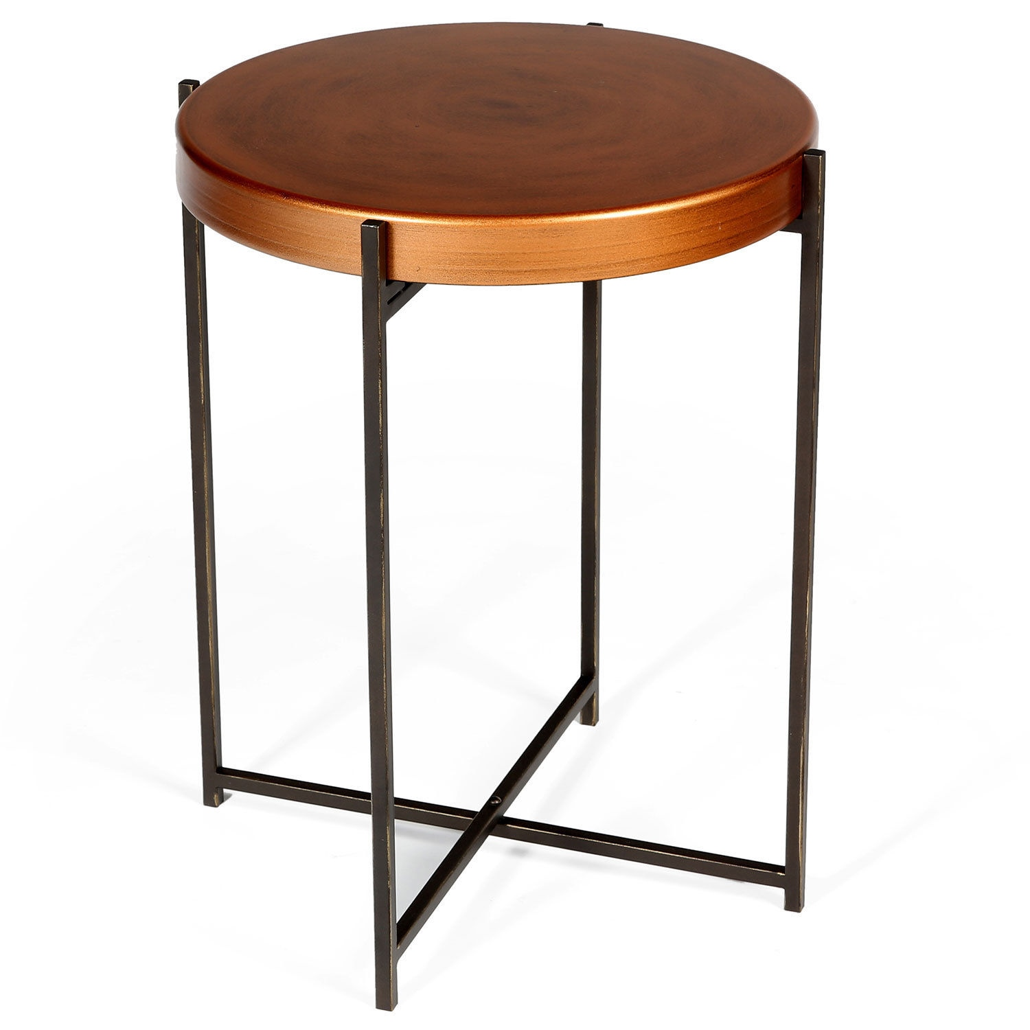 Copper round side table lamp table bedside table folding for Round side table