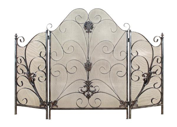 Elegant French Country Metal Scrollwork Fireplace Screen