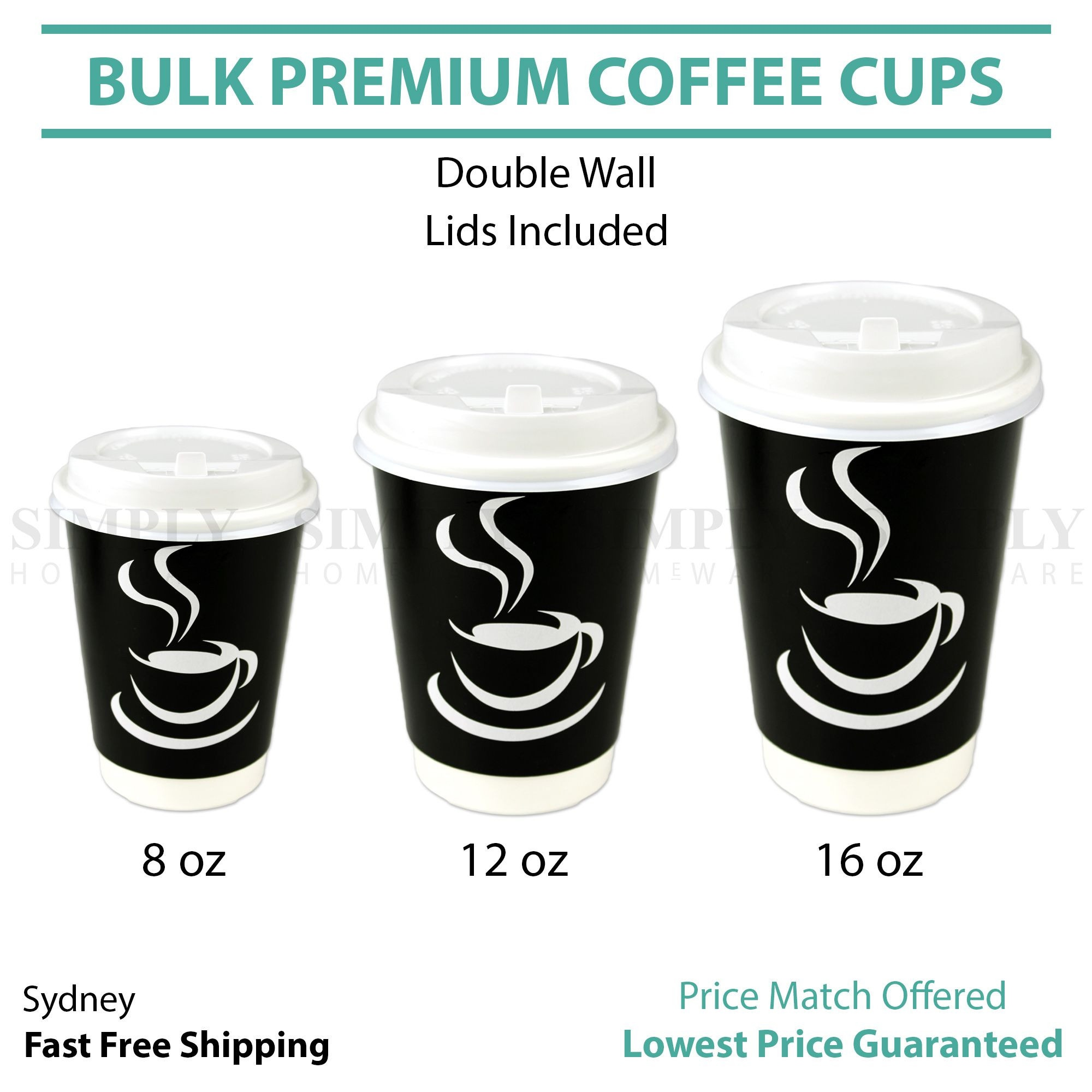 Disposable Coffee Cups 8oz 12oz 16oz Takeaway Paper Triple