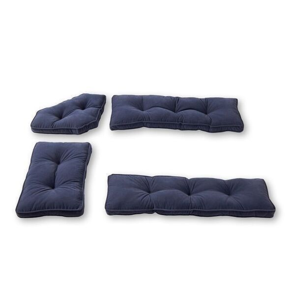 Denim Blue 4 Piece Nook Cushion Set Corner Bench Booth