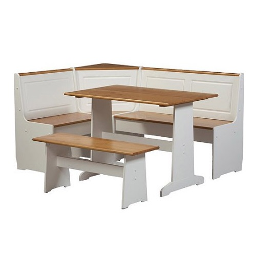 3 pc White Wood Top Breakfast Nook Dining Set Corner Booth