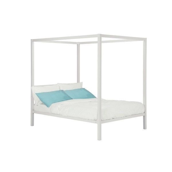 New Twin Full Queen Size White Metal Canopy Bed Frame