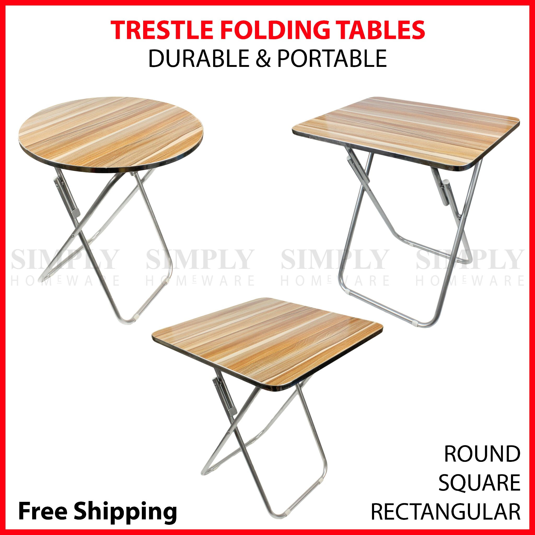 Details about  Round Folding Table Trestle Portable Tables Foldable Camping Picnic Dining Small