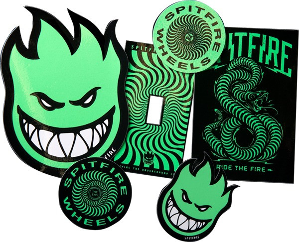 Spitfire Wheels Stickers 5 Pack Stay Lit Glow in the Dark FREE POST New Skateboard decal