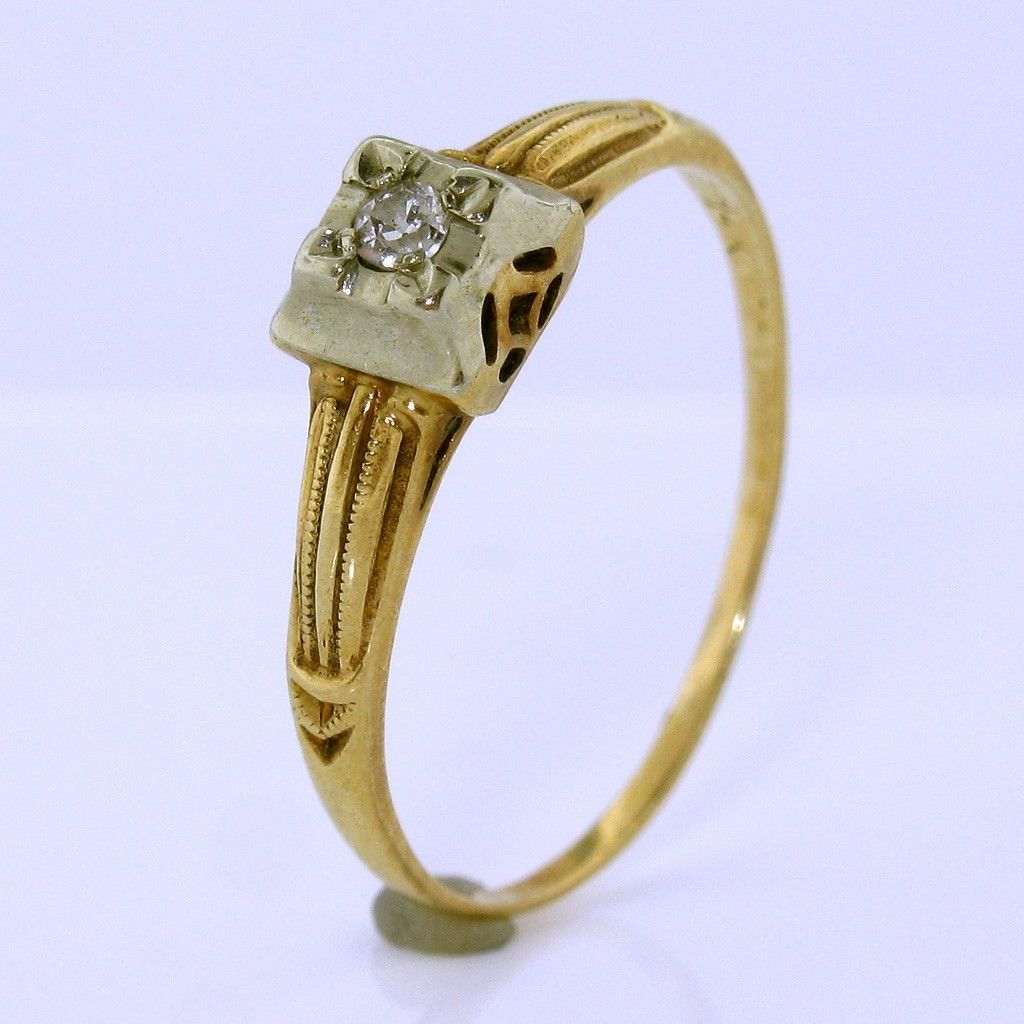Antique Edwardian Diamond Engagement Ring in 14K White and ...