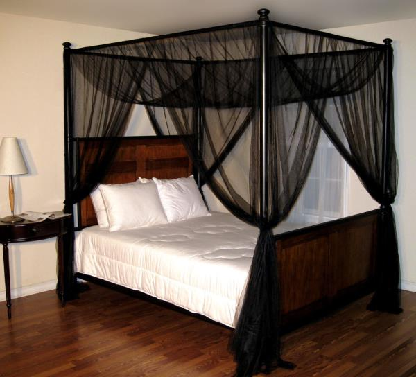 New black four 4 post bed canopy netting curtains sheer - Black canopy bed curtains ...