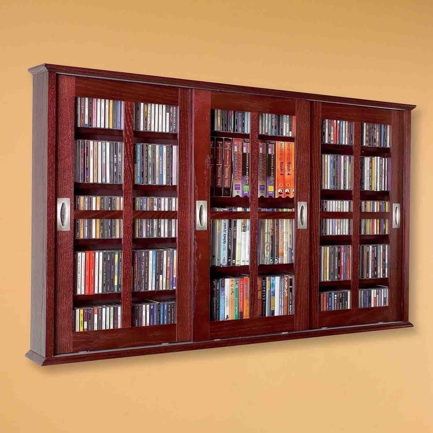 New Dvd Cd Media Storage Wall Cabinet Glass Doors Wood: in wall dvd storage