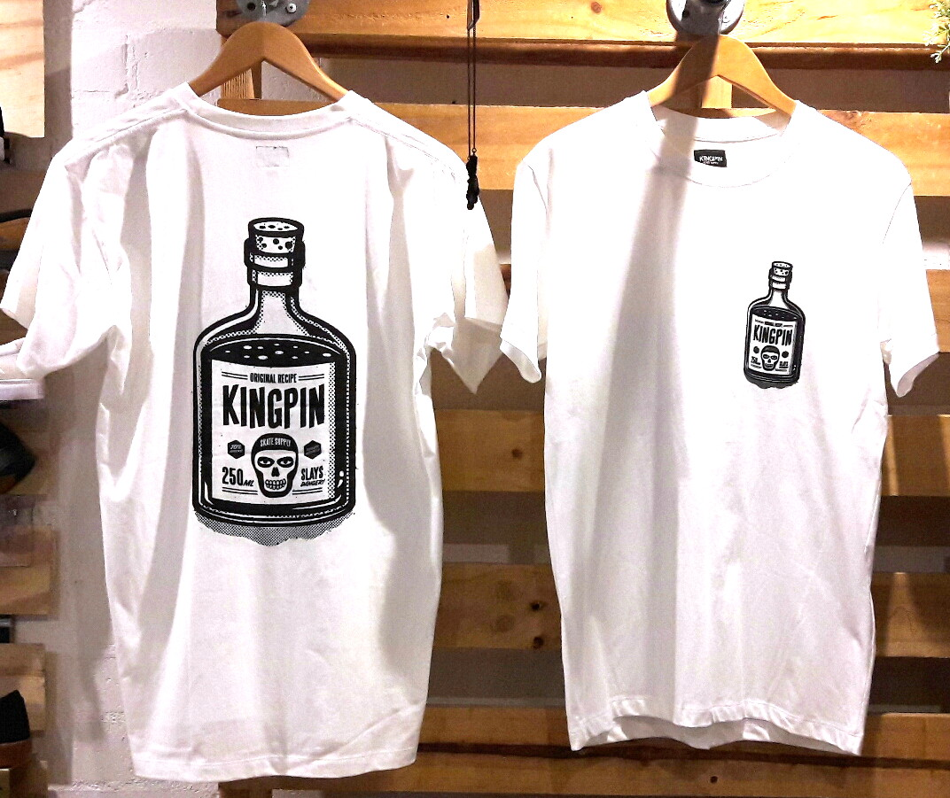 Kingpin Skate Supply Tee Bottle White Original Recipe New Skateboard T-Shirt FREE POST