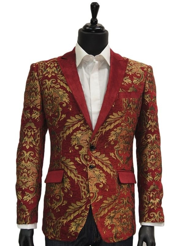 Angelino Mens Red Gold Embroidered Leaf Velvet Tuxedo Dress Trendy ...