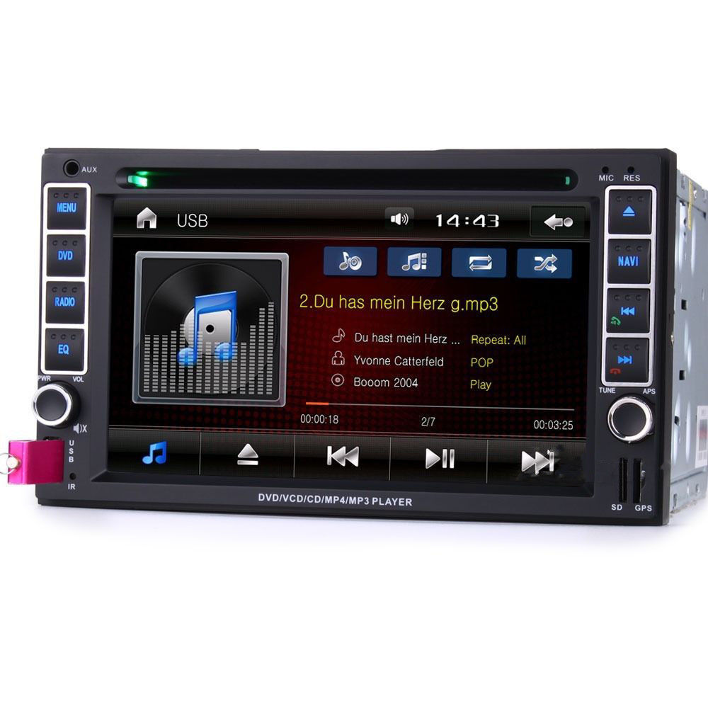 6 2 hd double din car stereo dvd bluetooth ipod sat nav. Black Bedroom Furniture Sets. Home Design Ideas