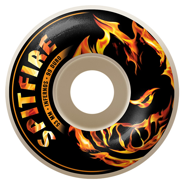 Spitfire Skateboard Wheels Infernos white 53mm Classic 99a New FREE POST