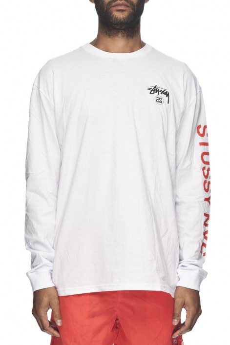 Stussy Tee Scan Reg L/S White Long sleeve T-Shirt FREE POST Mens Skateboard Surf Bmx Top