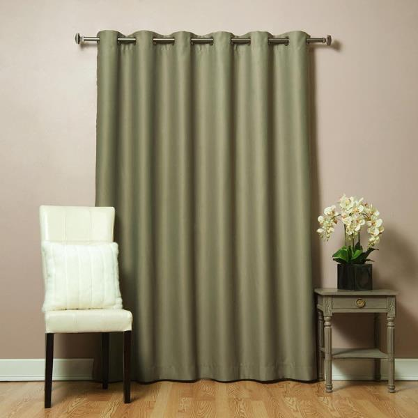 Olive Green Wide Grommet Thermal Insulated Drapes Blackout