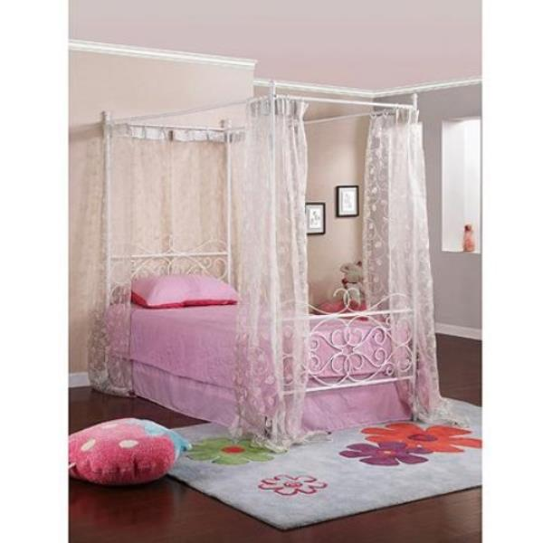 new twin size metal canopy bed girls white four post frame scroll wrought iron ebay. Black Bedroom Furniture Sets. Home Design Ideas