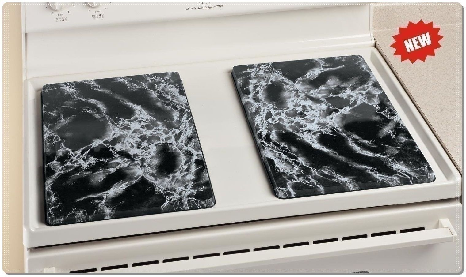 2 Pc Gas Or Electric Range Rectangle Stove Top Faux Marble