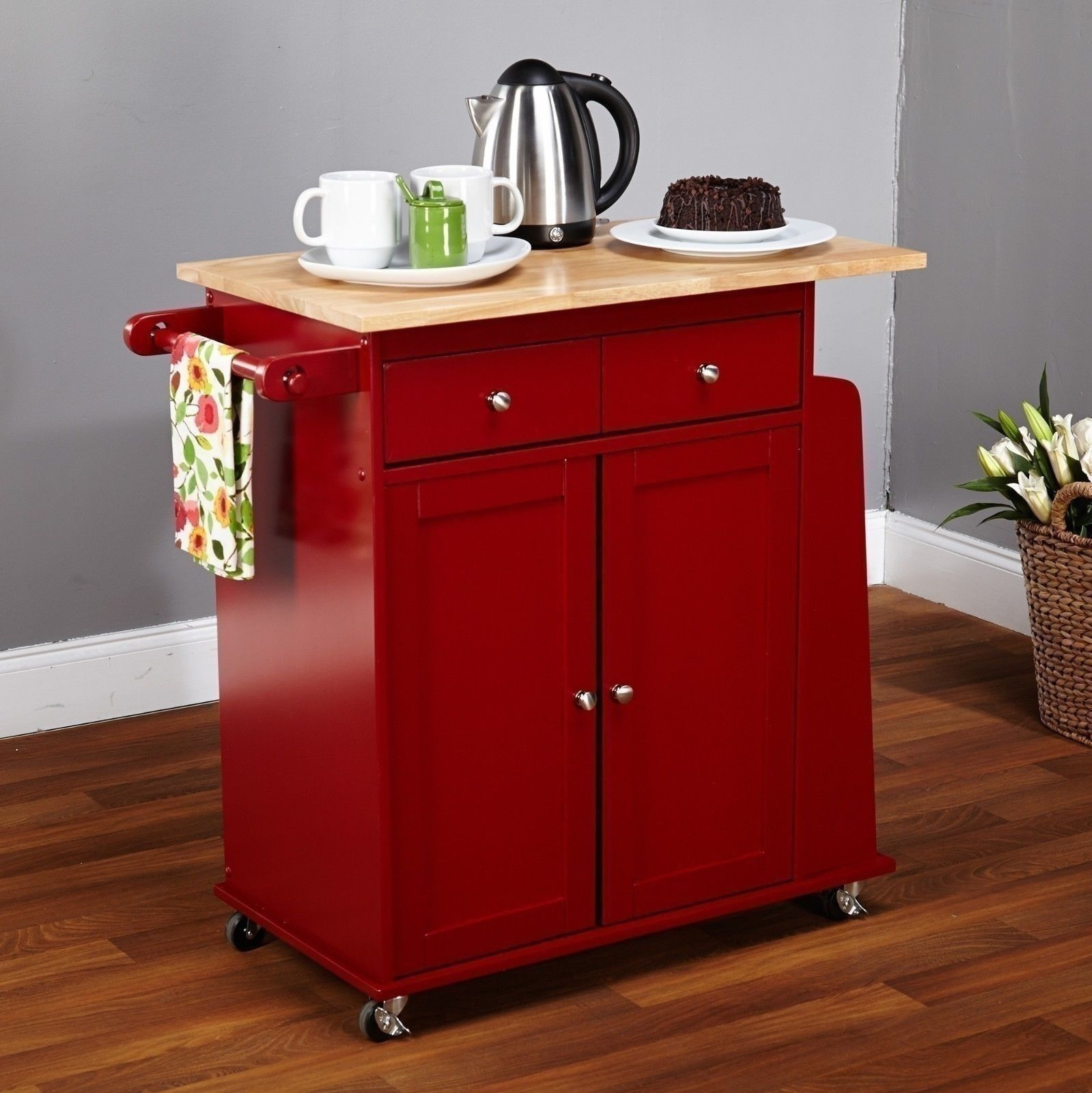 Unique Rolling Kitchen Cabinet: NEW Kitchen Island Red Utility Cart Rolling Cabinet
