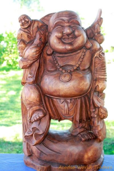 Happy traveling buddha of prosperity statue hotei hand for Does buddha bring good luck