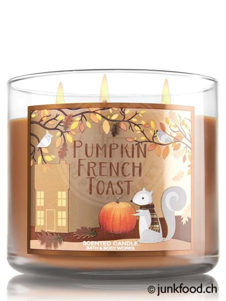 bath body works 3 docht kerze pumpkin french toast ebay. Black Bedroom Furniture Sets. Home Design Ideas