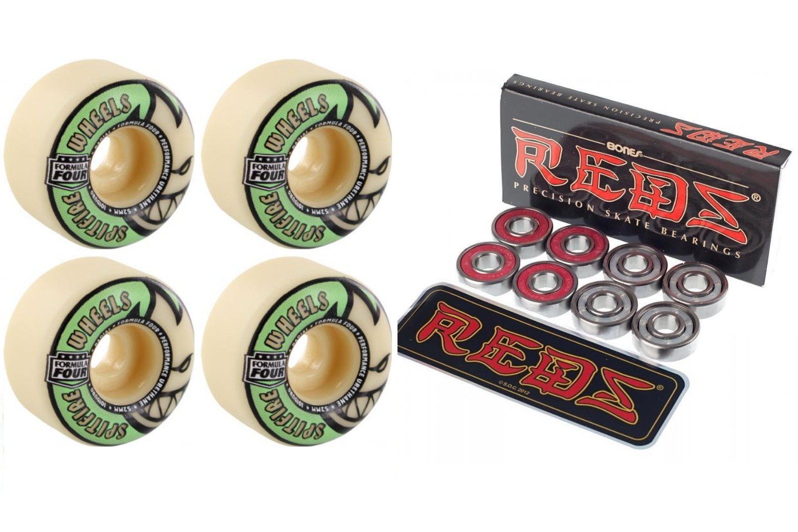Spitfire Skateboard Wheels Formula Four Glow 52mm 101d + Bones Reds Bearings FREE POST