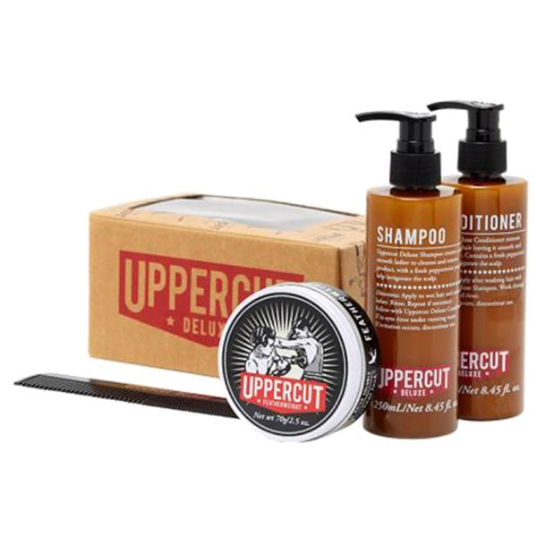 Uppercut Deluxe Combo Kit Gift Box Set Wax Shampoo Conditioner Comb Mens Hair Barber Grooming FREE POST Rockabilly