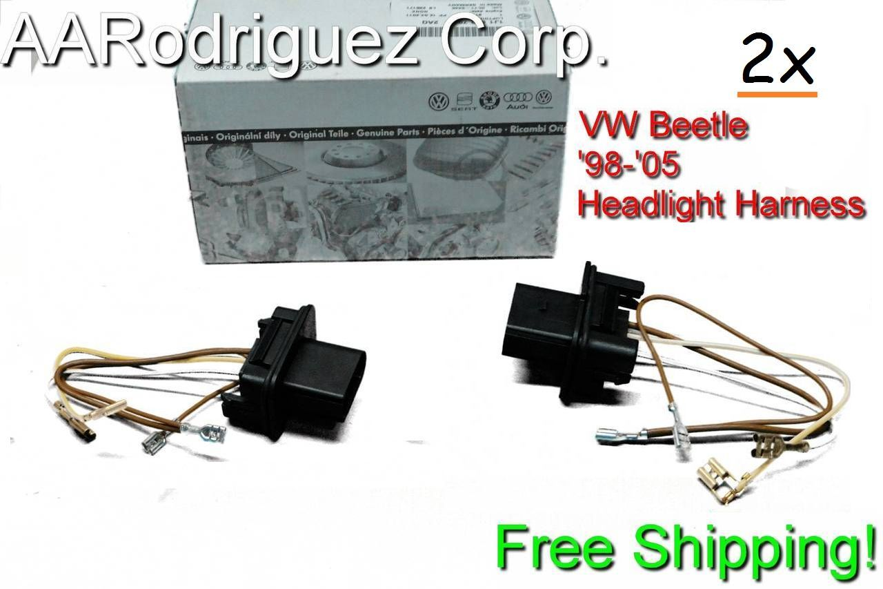 2 pack 1998-2005 vw volkswagen new beetle headlight wiring ... 2002 vw beetle wiring harness