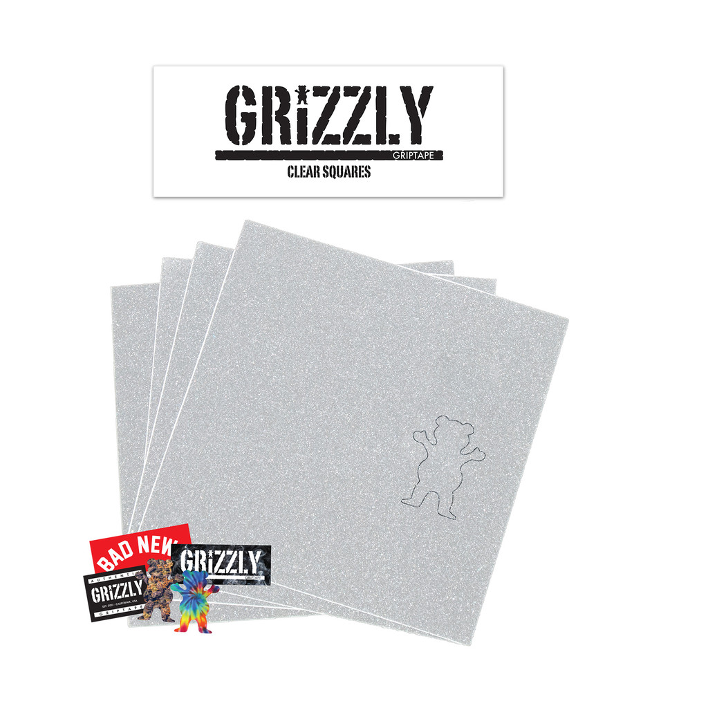 Grizzly Griptape Clear Skateboard Grip Tape Squares New FREE POST