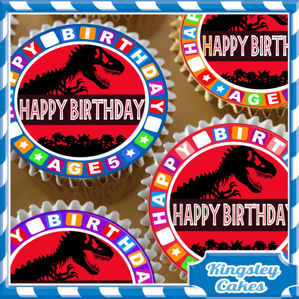 24 X JURASSIC PARK 5TH BIRTHDAY EDIBLE CUPCAKE TOPPERS RICE PAPER KC4605 Many Thanks For Looking At Our Product Today