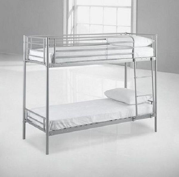 Mika shorty bunk bed frame silver 2 39 6 2ft6 bed children for Short twin bed frame