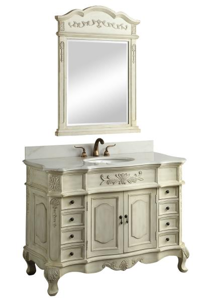 Simple  Inch Single Sink Bathroom Vanity With Matching Mirror And Wall Cabinet